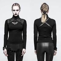 PUNK RAVE Saddle Top Black Gothic Top für Damen m. geschnürtem Stehkragen