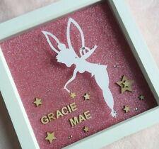 Handmade Personalised Disney Tinkerbell Papercutting Box Frame Pink Gift Decor