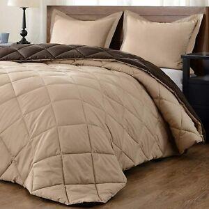 Beige Color 1800 Count Ultra Soft Light Weight Reversible Microfiber Comforter