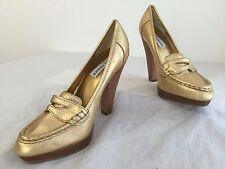 Steve Madden Platform Heels Pumps Gold Pebbled Leather Size 7.5