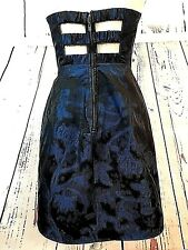XXI Women's Clothing Cocktail Dress Blue Black Cut Outs Fit Flare Strapless Sz 4