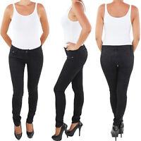 Röhrenjeans Skinny Damen Jeans Röhre Hose Hüft Stretch Slim Fit Schwarz