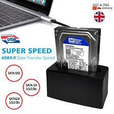 "USB3.0 TO SATA 2.5"" & 3.5"" HDD/SSD SINGLE BAY HARD DISK DRIVE DOCKING STATION UK"
