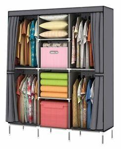 "Gray Cover Portable Closet Wardrobe Clothes Garment Storage Rack 52"" Wide Dorm"