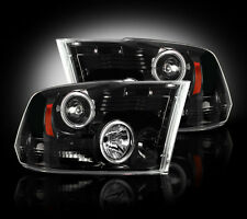 2009-2013 Dodge Ram Projector Headlights Smoked Lens w/ LED Halos & DRLs - LH/RH