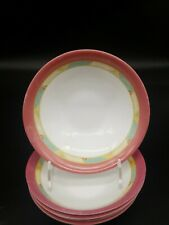 """Set of 5 Arcopal POMPEI Geometric Pink 6.5"""" Coupe Cereal or Soup Bowls, France"""