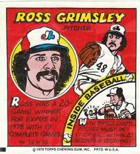 ROSS GRIMSLEY 1979 Topps Comic (#26) Montreal Expos EX+/NR MT
