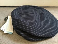 M&S NAVY BLUE FLAT CAP WITH THIN WHITE STRIPES IN PURE THICK COTTON -SIZE L BNWT