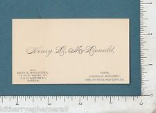 7989 Henry D. McDonald c 1895 business card Smith & Winchester pumps Boston, MA