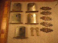 5 Antique Desk Drawer Box Furniture Lock Sets w/ 2 Barrel Keys & 5 Escutcheons