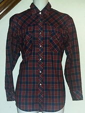 Western Sport Vintage Western Shirt Pearl Snap Red & Navy Gingham Mens Large