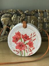 Authentic Bali Rattan Roundie Red Lily Painted Sling Bag 20cm