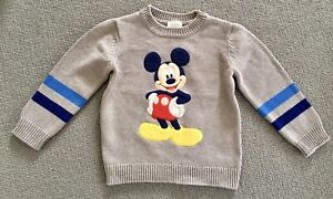 DISNEY Boys Knitted Grey Jumper Mickey Mouse Size 3 Years