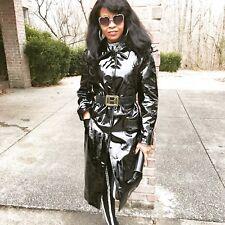 New Escada Full Length Stylish Black Patent leather Coat jacket 42 S-M 4-10
