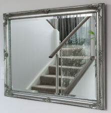 Large Antique Silver Mirror 102cm x 72cm
