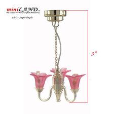 PINK Super Bright battery LED LAMP Dollhouse miniature light chandelier 1:12 SIL