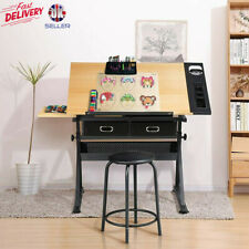 More details for adjustable drafting table art craft drawing desk w/stool architect desk stand uk