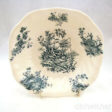 "Johnson Bros PASTORALE TOILE DE JOUY Blue Square Soup Bowl 7"" x 1 1/2"" Read"