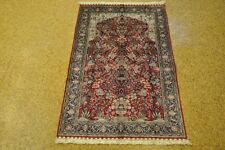 Silk Oriental Rug Sale  Area Rug 3x5 Prayer Red - Navy Blue Handmade