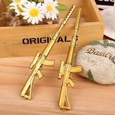Gold Novelty Rifle Shape Black Ink Ballpoint Pen Office Stationery Ball Point W7