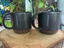 Set Of 2 STARBUCKS Ceramic Travel Desktop Mug Gray Black Cork Bottom w Lid 12oz