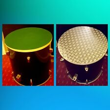 Upcycled Floor Tom Drum Games table with storage inside double sided table top ^