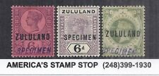 South Africa Zululand Specimen Lot of 3 w/ #'s 8, 10 & 24 - Mint