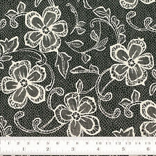 Cotton Fabric FQ - Flower Lace Print Vintage Retro Dress Quilting Patchwork VK92