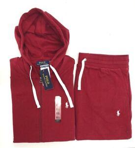 New Polo Ralph Lauren Men's Red Classic Fleece Hoodie Sweatpants Track Suit