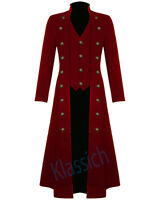 Men's Steampunk Military Red Trench Coat Long Jacket Gothic VTG