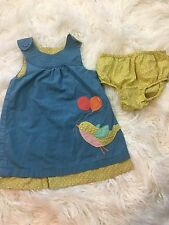 Mini Boden Toddler Baby Girls Bird Balloon Dress Size 18-24mo Blue Yellow