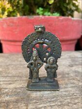 Ancient Brass Hand Carved Hindu God Goddess Tirupati Balaji Miniature Sculpture