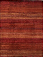 8X10 Hand-Knotted Gabbeh Carpet Tribal Red Fine Wool Area Rug D36230