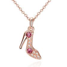 Elegant 18k 18CT Rose Gold Filled GF High heel Crystals Pendant Necklace N698