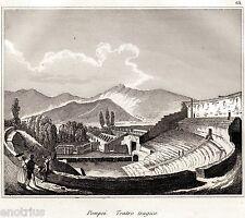 Pompei: Teatro Tragico o Grande.Audot.Acciaio.Stampe Antiche + Passepartout.1835