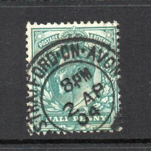 Edward VII - 1902-10, ½d Blue-Green (Stratford on Avon, 2 Apr 1904) Used