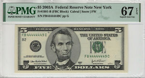 2003 A $5 FEDERAL RESERVE NOTE NEAR SOLID SERIAL 4'S PMG SUPBER GEM 67 EPQ(449C)