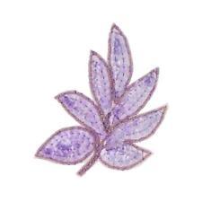 purple lilac pink leaf design sequin bead applique flourish trim motif patch