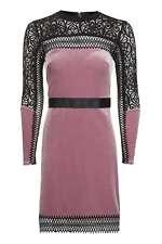 BNWT TOPSHOP PINK Geo Contrast Velvet Mini Dress UK 8