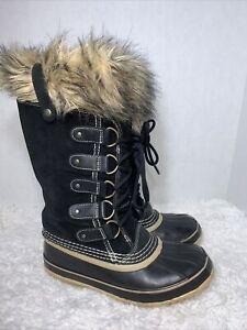 sorel joan of arctic Size 7 Faux Fur Black Suede Winter Snow Boots Women Warm