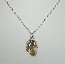 "Bronze Oak Leaf and Silver Acorns Pendant 18"" Chain Necklace in Gift Bag"