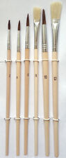 6 BRUSH SET for Oil Acrylic Watercolor Painting Art Paint Artist -4 round 2 flat