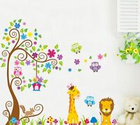 Large Giraffe Owl Flower Tree Wall Decal Removable Stickers Kids Nursery Decor
