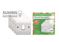 MK Trade Pack K4871WHI Single Light Switch 1 Gang 2 Way 10 Amp Logic Plus