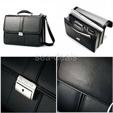 Lawyers Briefcase Samsonite Black Leather Handbag Laptop Business Messenger Bag