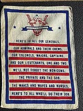 Authentic Vintage WWII Cocktail napkin, cloth printed -A