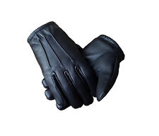 Thin Unlined Black Leather Police Search Gloves