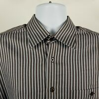 IKE Behar New York Mens Dark Brown Blue Striped Dress Button Shirt Sz Large L