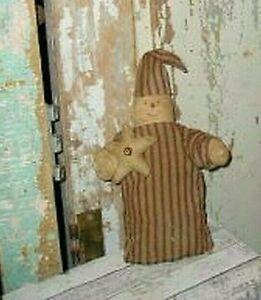 "Primitive/Country Handmade Christmas Snowman in Striped PJ's Star 8"""