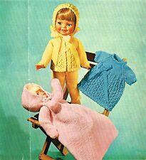 "Dolls clothes knitting pattern.12-14-16"" doll.  Laminated copy. (V Doll 132)"